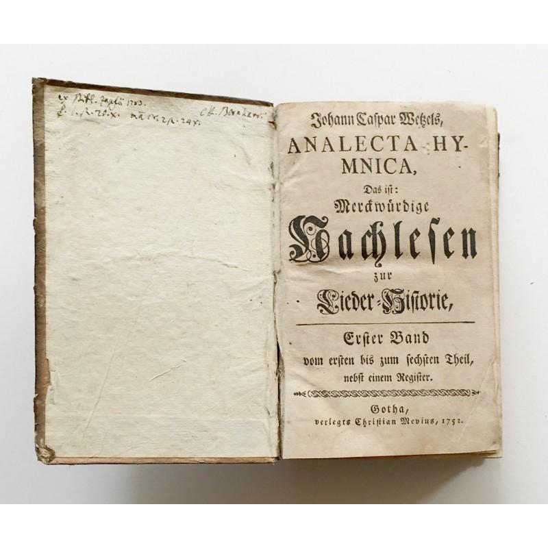 Wetzel, Johann Caspar: Analecta Hymnica(1751 / 1752.