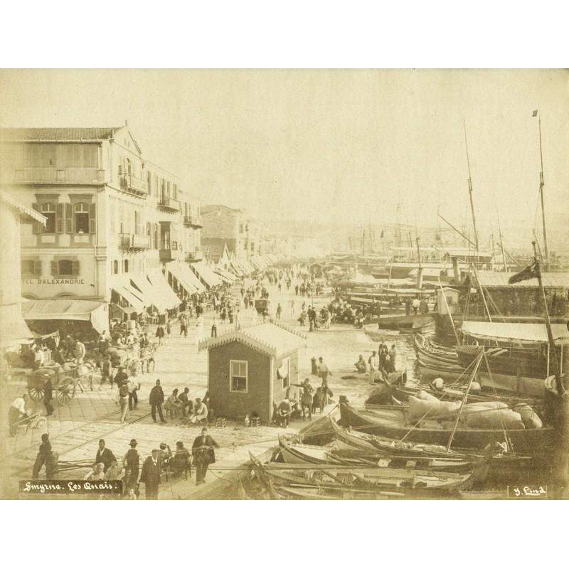 Historische Fotografie mit Ansichten aus Smyrna (Izmir): Les Quais. Der Hafen. Original Fotografie (ca. 1898).