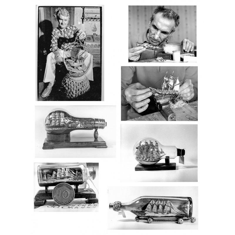 Buddelschiffe und Buddelschiffbauer. Serie von 47 Original Fotografien (1960er bis 1970er Jahre).