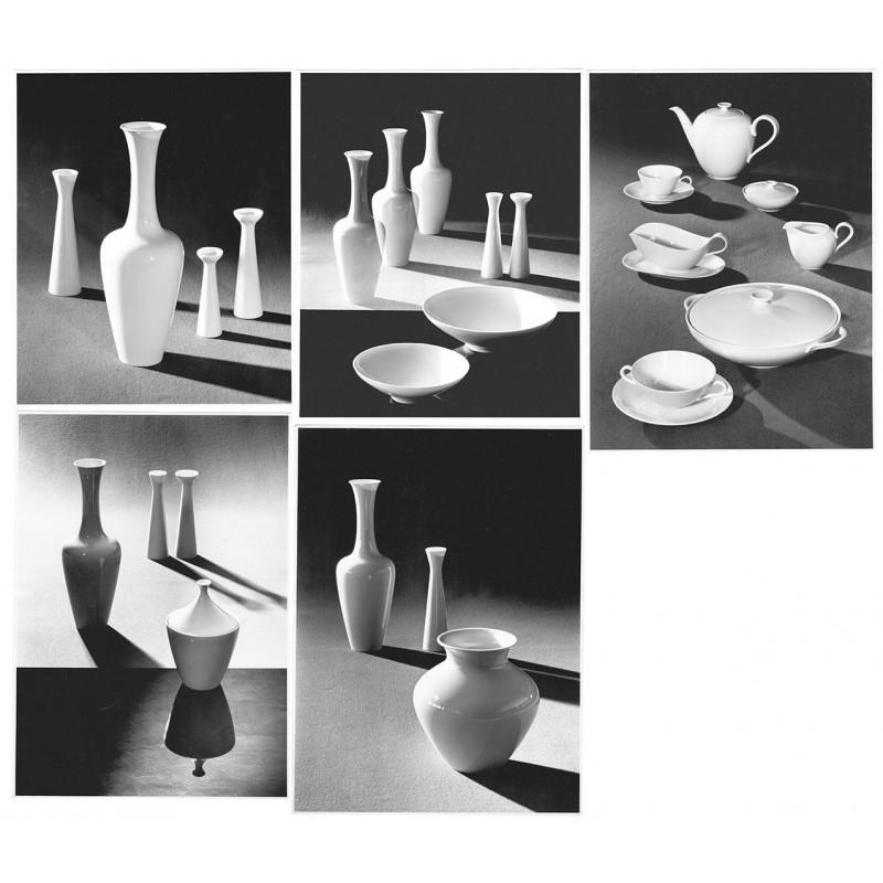 Heinrich & Co. Porzellanfabrik: Porzellankreationen. 5 Original Fotografien (1950er Jahre).