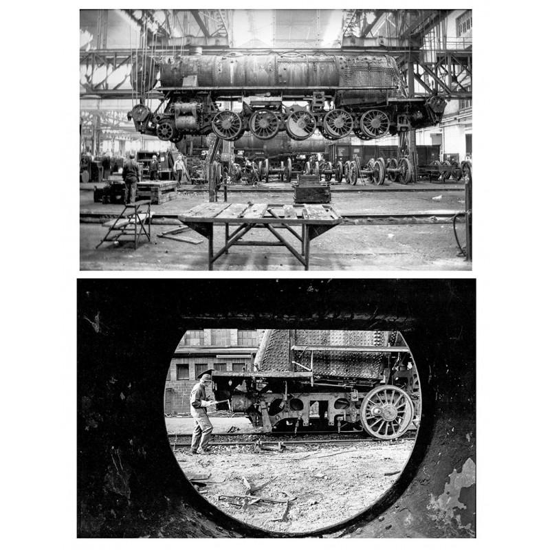 """Die Verschrottung von Dampflokomotiven beim """"Ausbesserungswerk"""" in Braunschweig. Original Fotografie (1975)."""