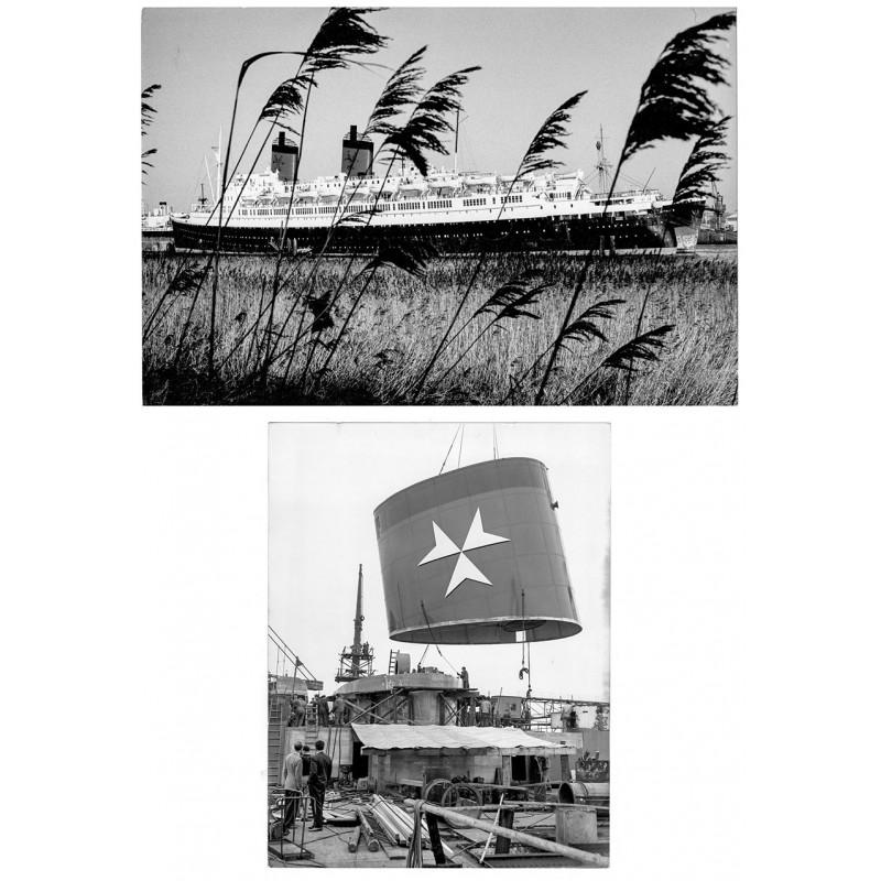 """Passagierdampfer: 2 Original Fotografien - Die """"Hanseatic I"""" vor der Verschrottung. Original Fotografie (1966)."""
