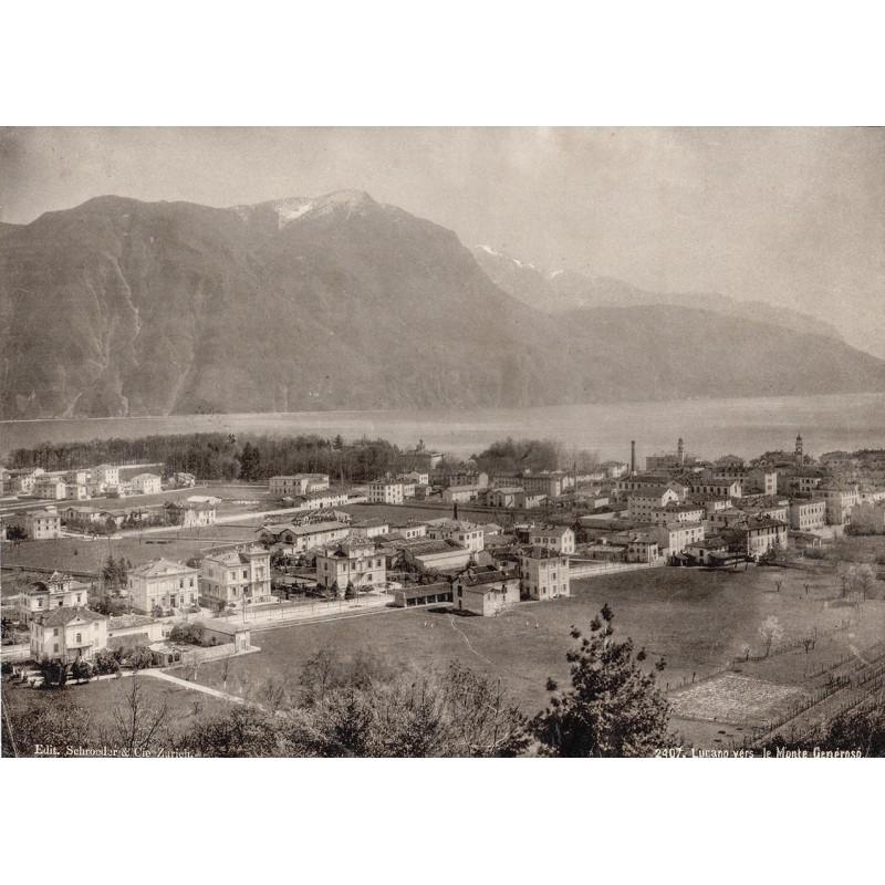Lugano vers le Monte Generoso. Original-Fotografie (ca. 1885).