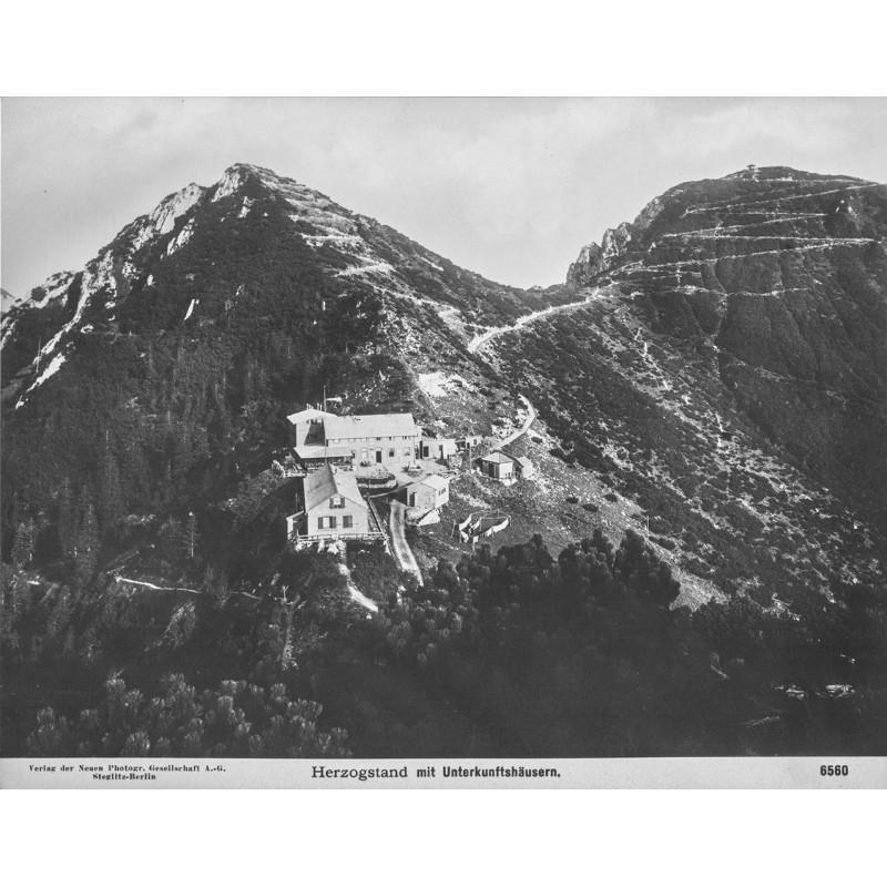 NPG: Walchensee. Herzogenstand mit Unterkunftshäusern. Original-Fotografie (1902 - 1909)