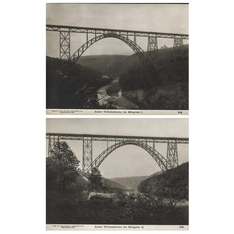 NPG: Kaiser Wilhelmbrücke bei Müngsten. 2 Original-Fotografien (1909)