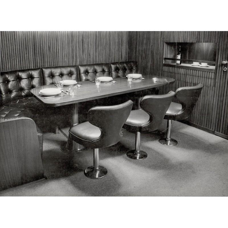 """Grubenbecher, Johannes: Salon-Raum des Gaffelschoners """"Coradina"""". Original-Fotografie (1950er Jahre)."""