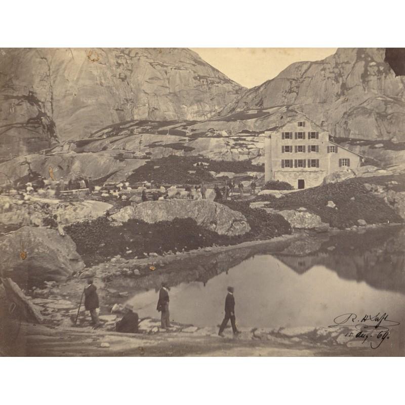 SAFT, R.H.: Grimsel mit Grimsel-Hopspiz. Original Fotografie. Albumin-Abzug (15.08.1869)