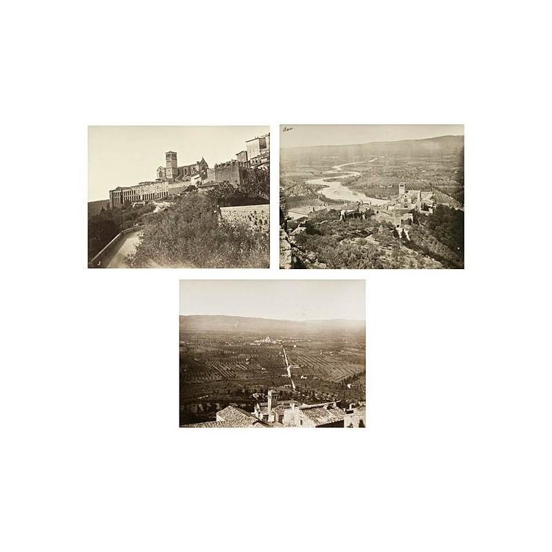Drei Ansichten von ASSISI. Original-Fotografien. Albumin-Abzüge (ca. 1890)