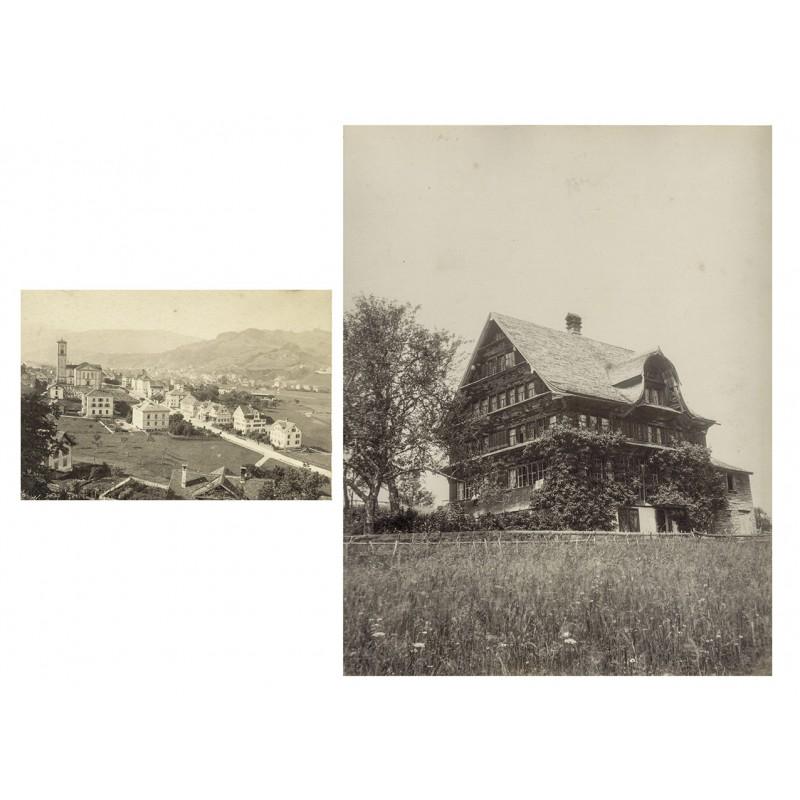 Ansichten aus TOGGENBURG: Wattwil sowie Bauernhaus. Zwei Albumin-Abzüge (ca. 1890)