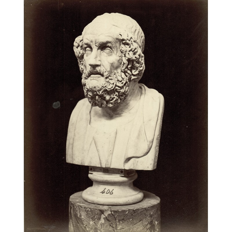 Neapel, National-Museum: Büste von Homer. Original Fotografie. Albumin-Abzug (ca. 1880)