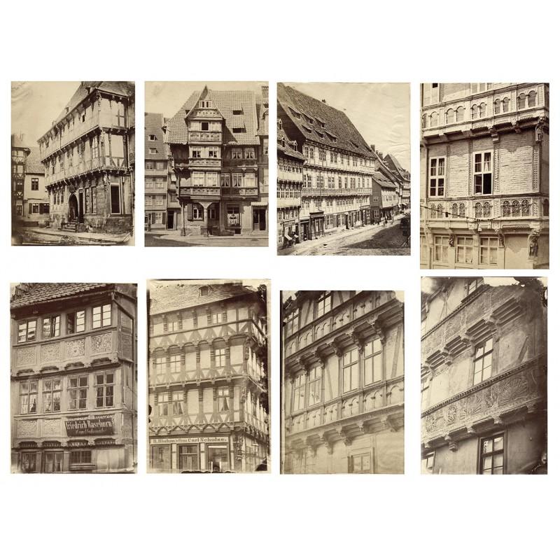 HALBERSTADT: Acht Original-Fotografien der mittelalterlichen Bauten. Albumin-Abzüge (ca. 1880)