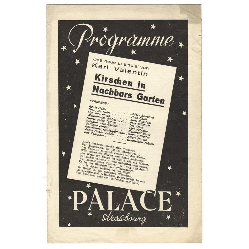 """Kirschen in Nachbars Garten. Kino-Programm des Kino """"Palace"""", Strassburg (1935 / 1936)"""