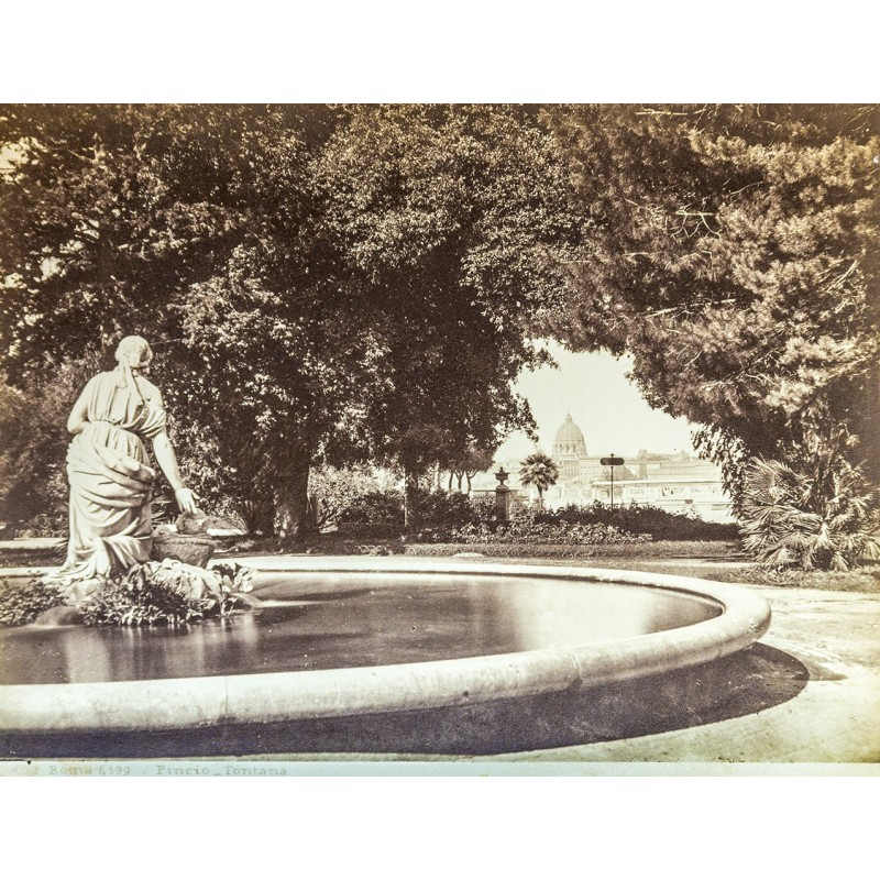 Rome - Roma. Pincio Fontana. Original photography. Albumen print (appox. 1880).
