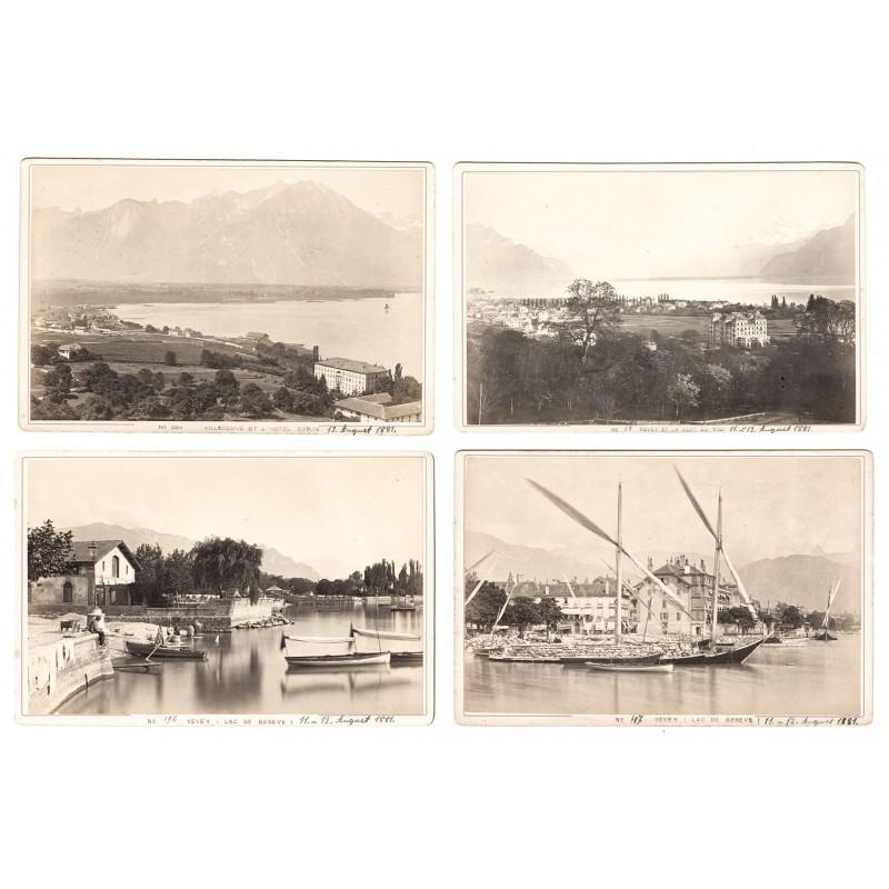 VEVEY, Lac du Geneve // Villeneuve et l'Hotel Byron. 4 Original-Fotografien. Albumin-Abzüge (1881).