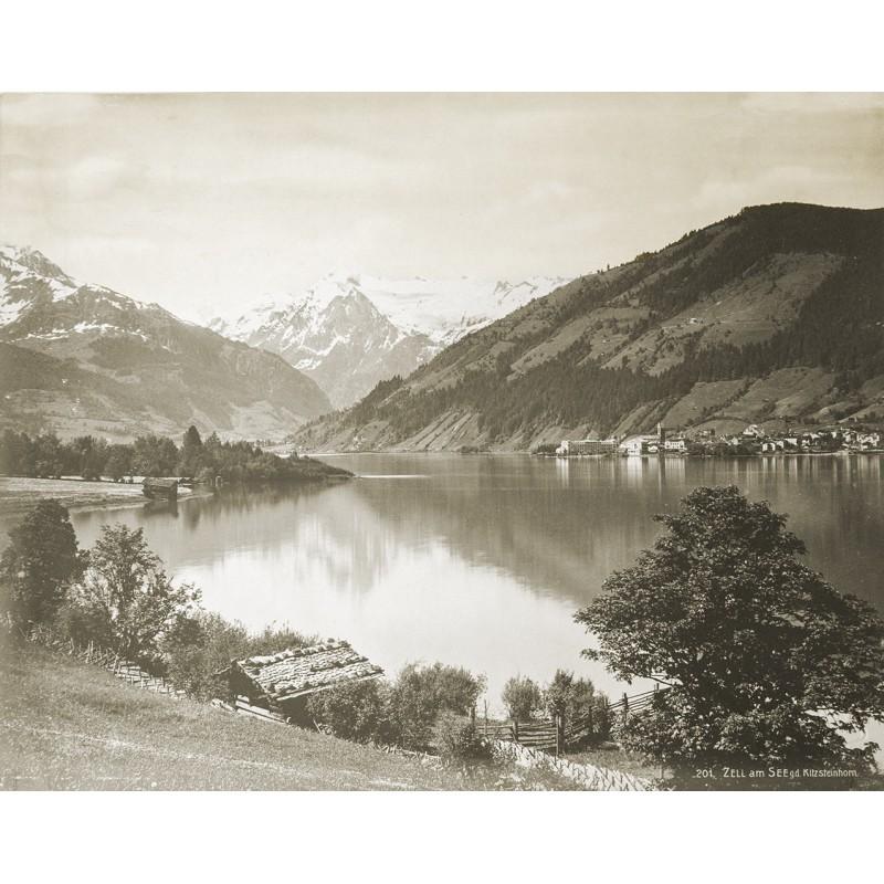 Ansicht von Zell am See gegen das Kitzsteinhorn. Original Fotografie. Silbergelatine-Abzug (ca. 1900)