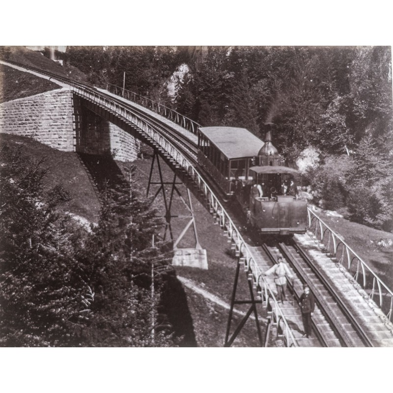 Rigi Bahn - Chemin de fer du Rigi. Original-Fotografie. Albumin-Abzug (ca. 1885).
