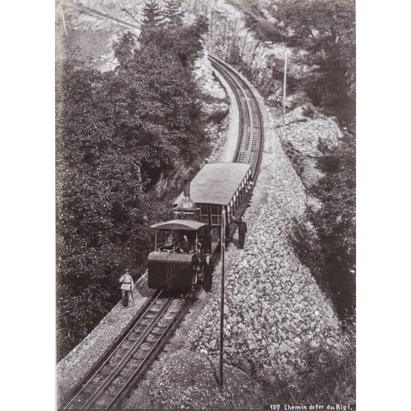 Rigi Bahn - Chemin de fer du Rigi. Original-Fotografie. Albumin-Abzug (ca. 1885)