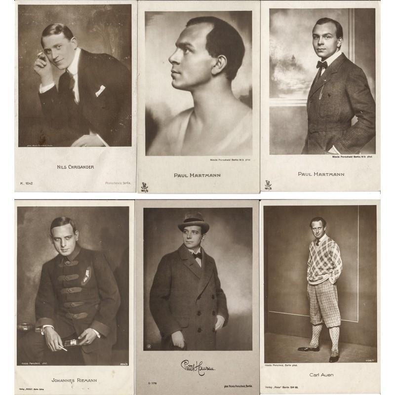 PERSCHEID, Nicola, Berlin: 6 Original-Fotografien von Schauspielern (1920er Jahre)