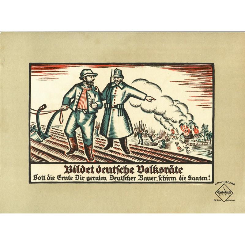Werbe-Plakat-Entwurf - Hadank, O.H.W. (Oskar H.W.): BILDET DEUTSCHE VOLKSRÄTE (1919)