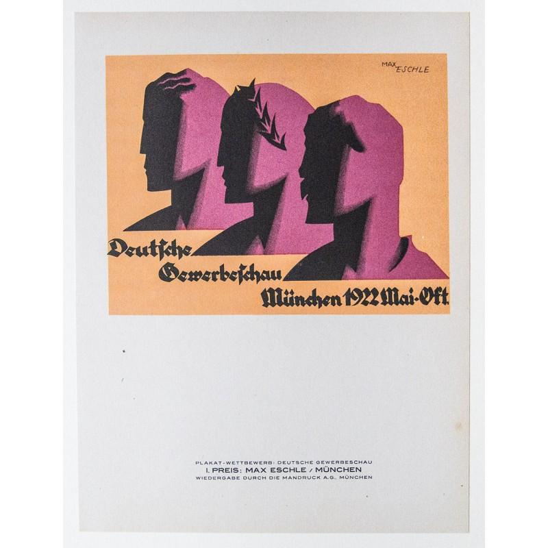 Original-Plakat-Entwurf von 1921 für die Deutsche Gewerbeschau München 1922
