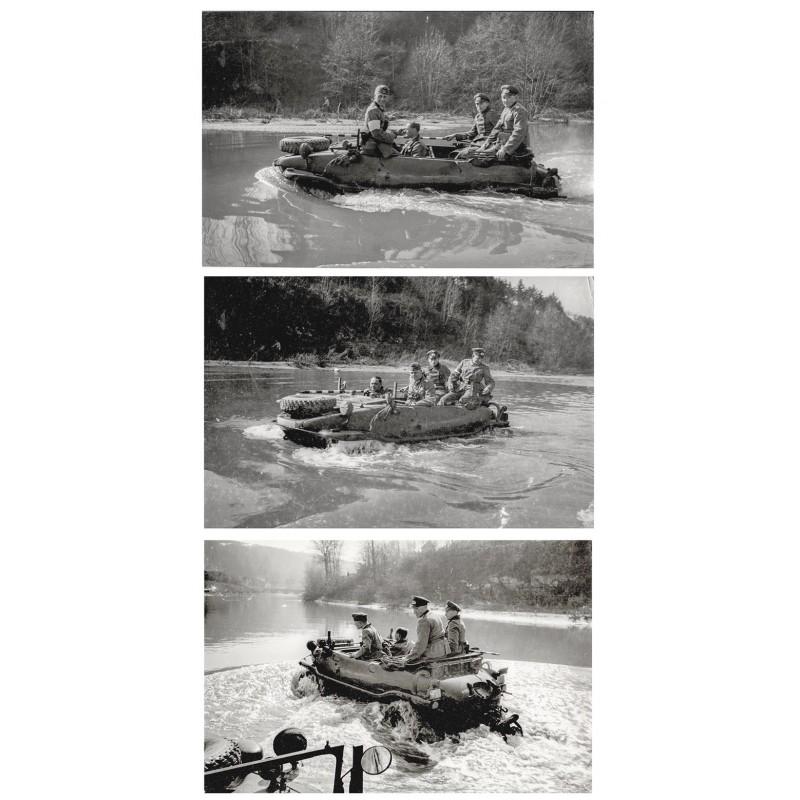 Vorführung des VW Schwimmwagens Typ 166 (?). Drei Original-Fotografien (1941 (?) - Abzug aus den 1960er Jahre)