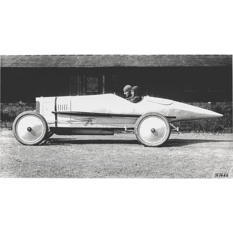 Mercedes Benz Rennwagen von 1921. Original Fotografie (Abzug von 1961).