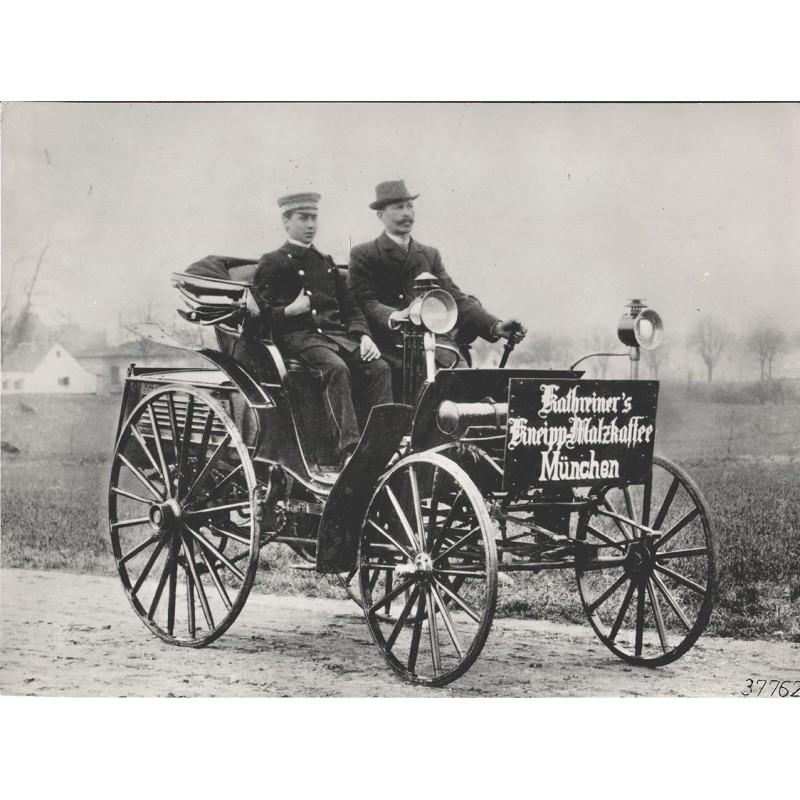 Benz-Viktoria-Reklame-Wagen der Firma Kathreiner. Original Fotografie (1894 - Abug von 1961)