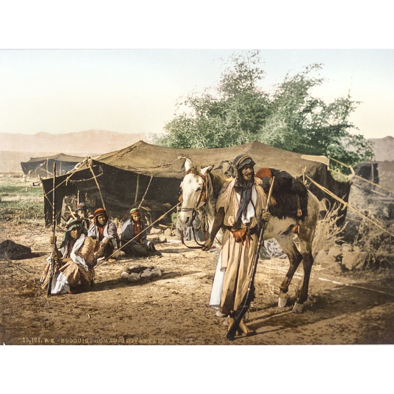 Nord-Afrika - Photochrom: Bedouins Nomades devant leur Tente. Photochrom (ca. 1895)