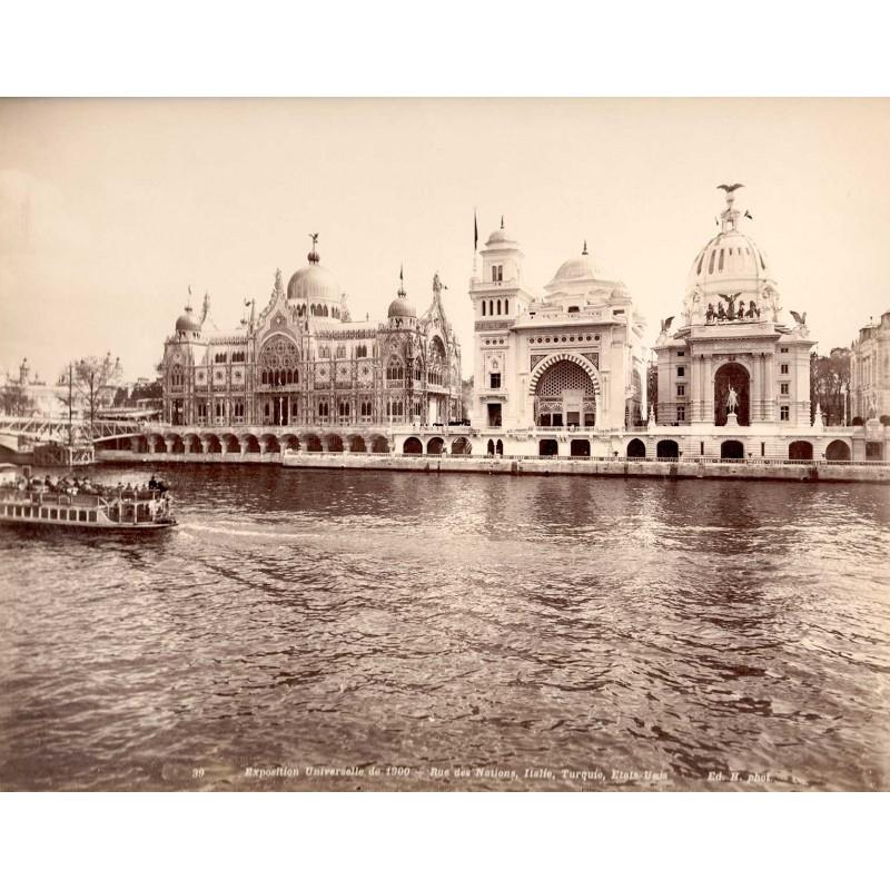 Weltausstellung Paris 1900 / Exposition Universelle de 1900: Rue de Nations, Italie, Turquie, Etats-Unis. Original-Foto