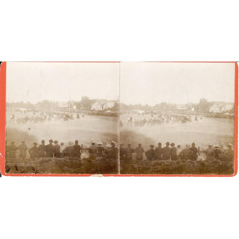 Pferderennen Zweibrücken- Original Stereo Fotografie (um 1910)