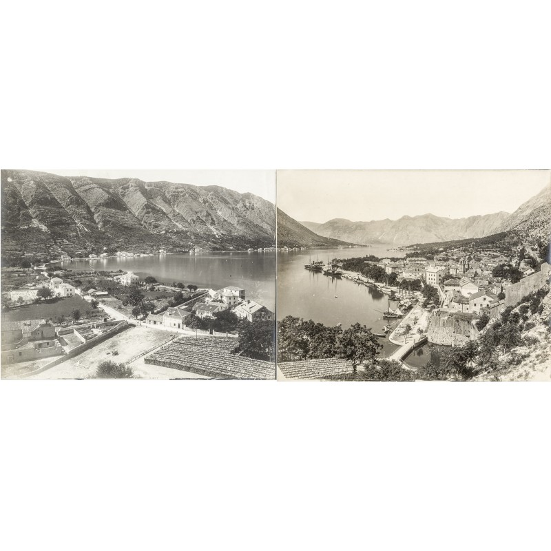 Laforest, Franz: Panorama der Bucht von Kotor (Cattaro). Original Panorama-Fotografie in zwei Teilen (um 1905)