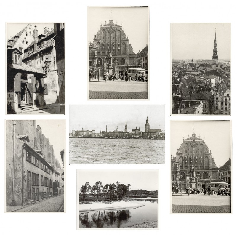 Views of ancient RIGA and one landscape. 7 original photographs (1920th).