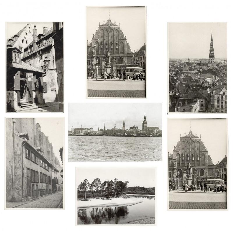 Ansichten von Alt RIGA sowie einer Landschaftsaufnahme. 7 Original Fotografien (1920er Jahre)