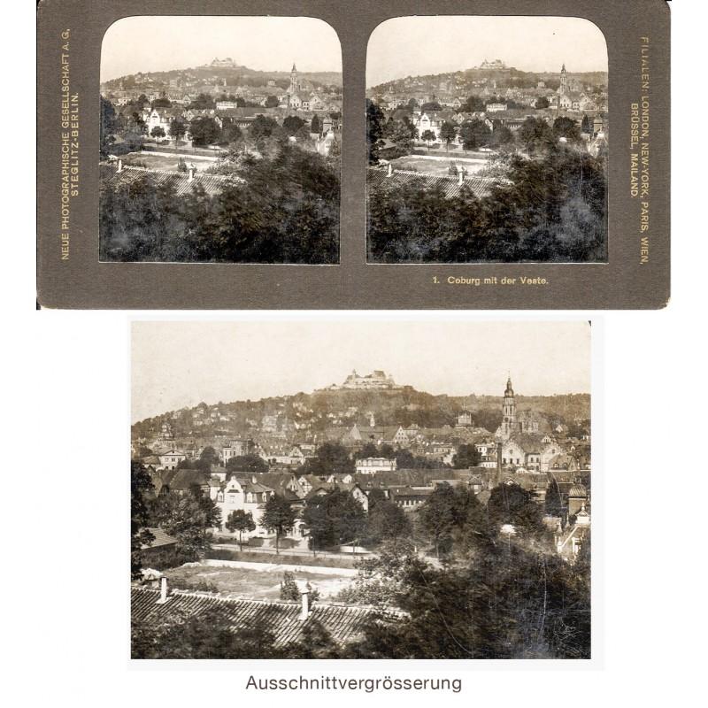 COBURG mit der Feste. Original Stereo-Fotografie auf Celloidin Fotopapier (ca. 1905)