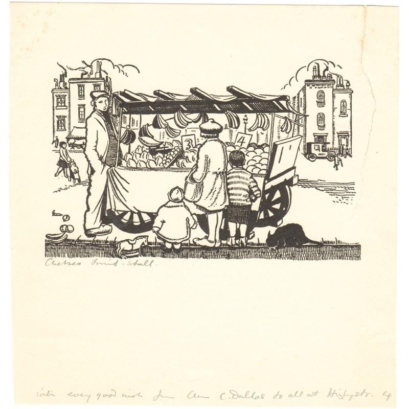 Dallas, Ann Chasar: Expressionismus: Chelsea Obst Marktstand. Original Holzschnitt (1933)