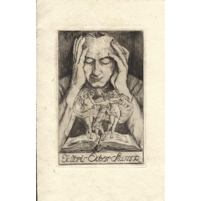 EBNER, Pauli: Ex libris für Oskar Stumpp in Kupferstich (1920er Jahre?)