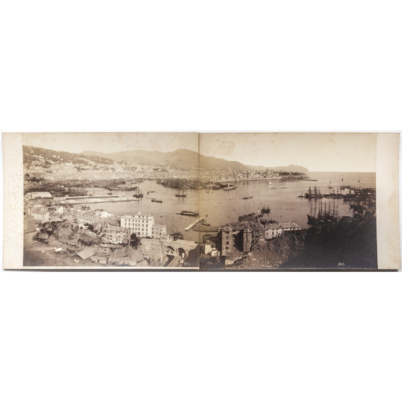 Noack: City and harbour of Genova / Italy. Panorama in two parts (approx 1885)