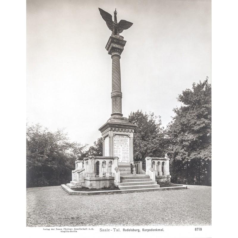Neue Photographische Gesellschaft (NPG): Saale-Tal. Rudelsberg. Korpsdenkmal. Original-Fotografie (1909)