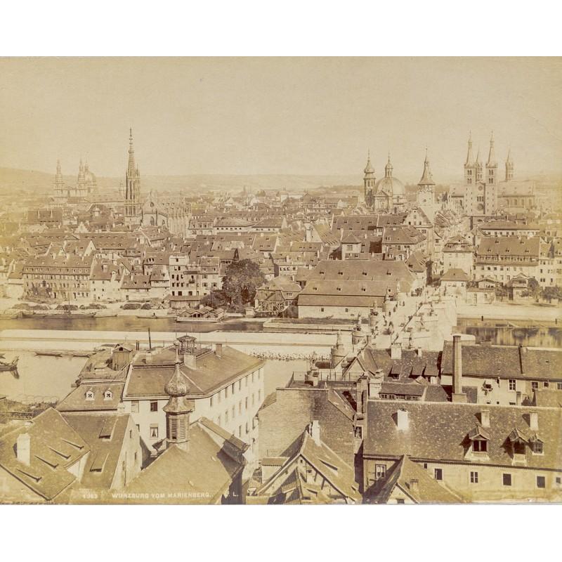 Foto-Atelier L. L.: WÜRZBURG. Stadtansicht vom Marienberg. Original Fotografie (ca. 1885).