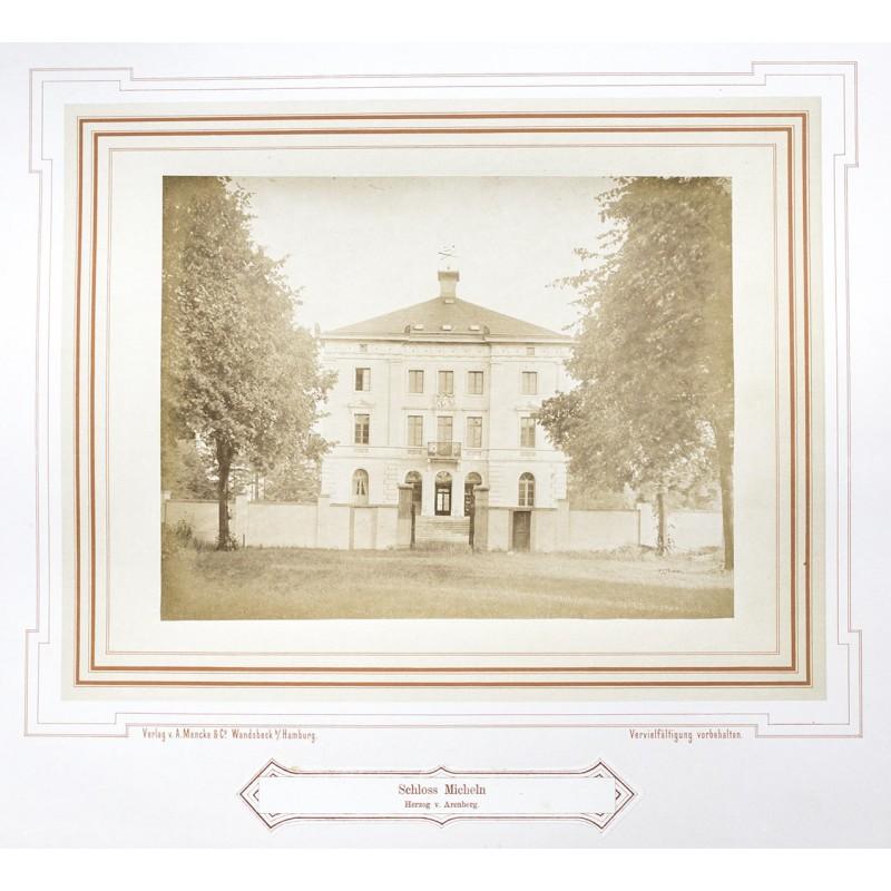 MENCKE: Schloss Micheln (heute: Schloss Mickeln). Original-Fotografie. Albumin Abzug (ca. 1870)