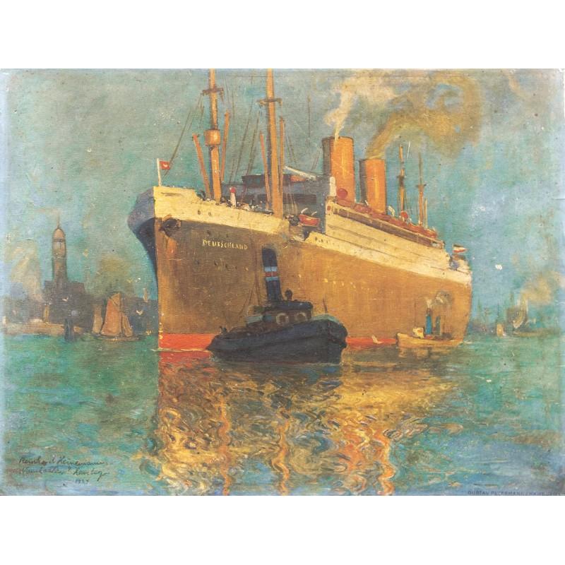 """Heinemann, R.: Das Passagierschiff """"Deutschland"""" im Hafen von Hamburg. Gemälde in Offsetdruck (1920er / 1930er Jahre)."""
