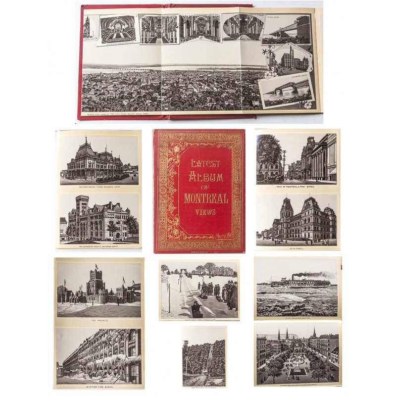 LATEST ALBUM of MONTREAL VIEWS. Leporello fold album with 35 images (approx. 1895).