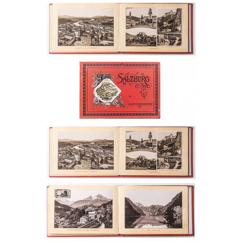 SALZBURG. Leporello-Album in lithografiertem Bromsilberdruck mit 25 Ansichten (1889)