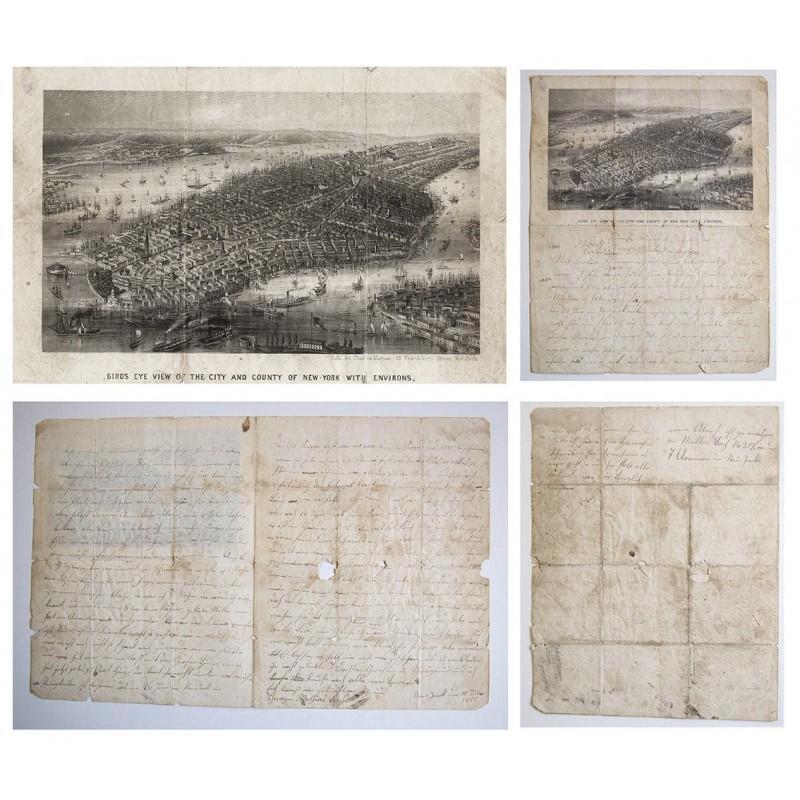 New York. Birds Eye View. Stahlstich auf Briefbogen einer Auswanderin (1855)