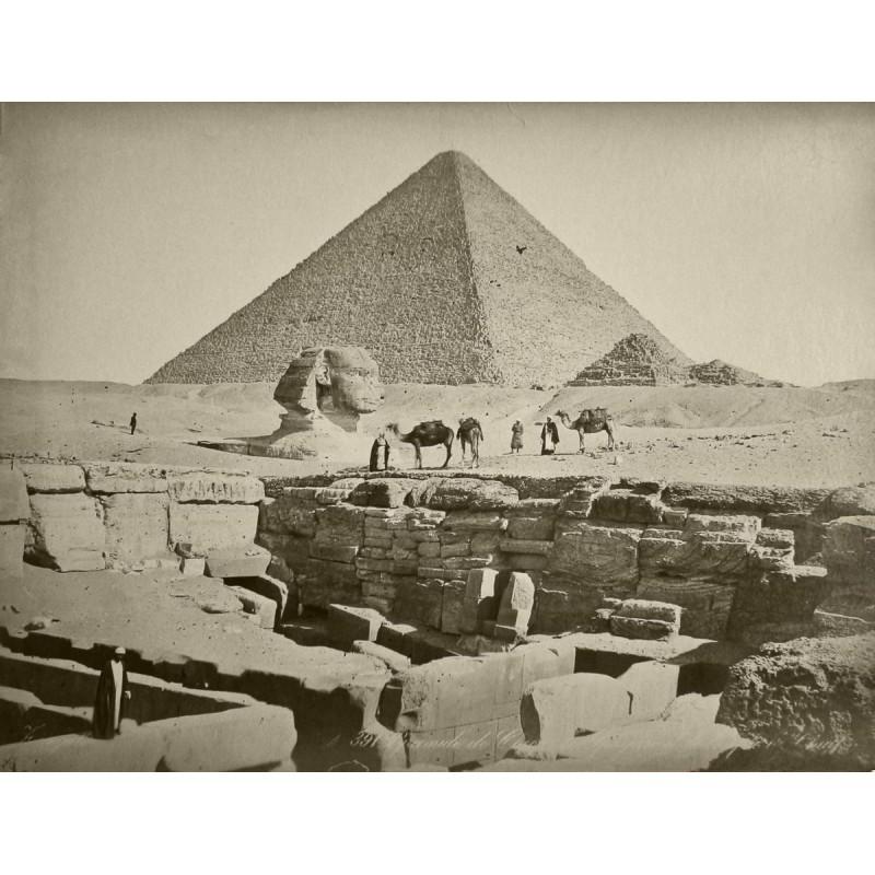 ZANGAKI: Pyramide de Cheops et Sphinx. Original-Fotografie (ca. 1880).