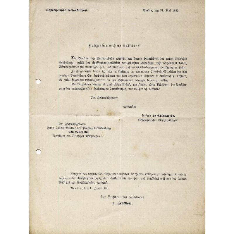 Eröffnung der GOTTHARD-BAHN. Schreiben der Schweizerischen Gesandtschaft Berlin von 1882