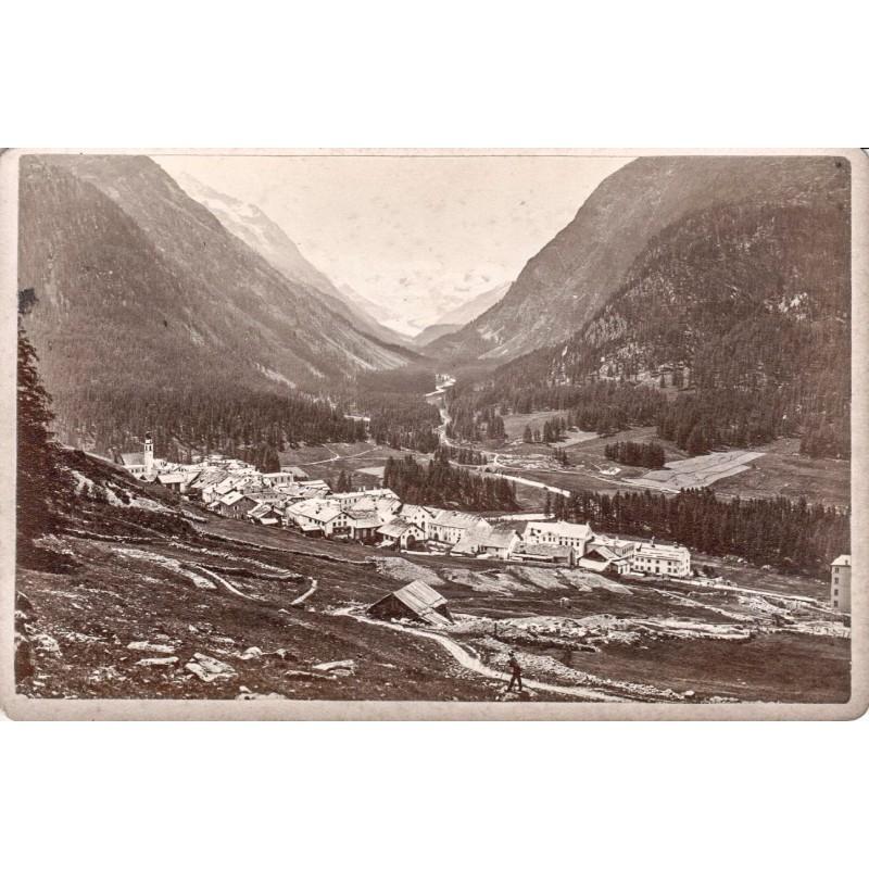 Anonymer Fotograf: Pontresina vom Rosegtal aus gesehen. Original Fotografie (ca. 1880).