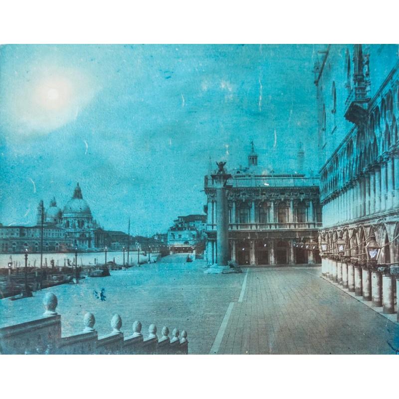 Der Markusplatz im (künstlichen) Mondschein. Original Fotografie. Kolorierter Albumin Abzug (ca. 1885)