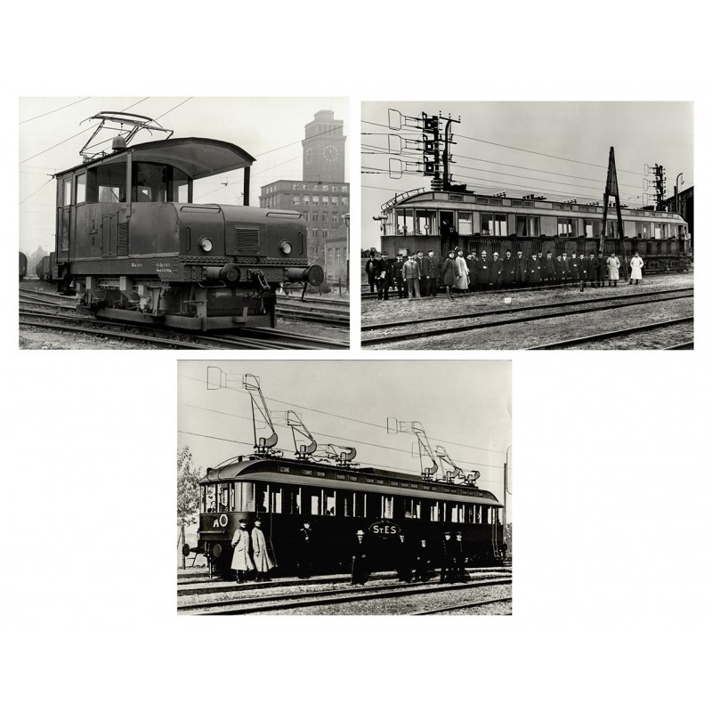 AEG Werk: AEG Elektro Schnellbahn erreicht 1903 den Geschwindigkeitsrekord von über 200 kmh. 3 Original Fotografien.